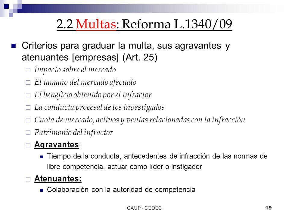 2.2 Multas: Reforma L.1340/09 Criterios para graduar la multa, sus agravantes y atenuantes [empresas] (Art. 25)